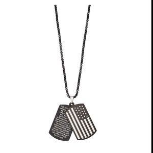NEW Men's American Flag Dogtag Chain Necklace